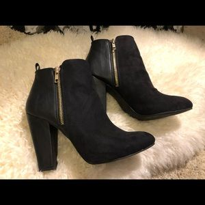 Leather and suede mixed media booties